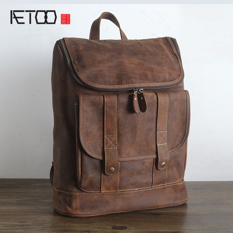 AETOO genuine leather cow leather double shoulder bag crazy horse skin men women leisure travel bag