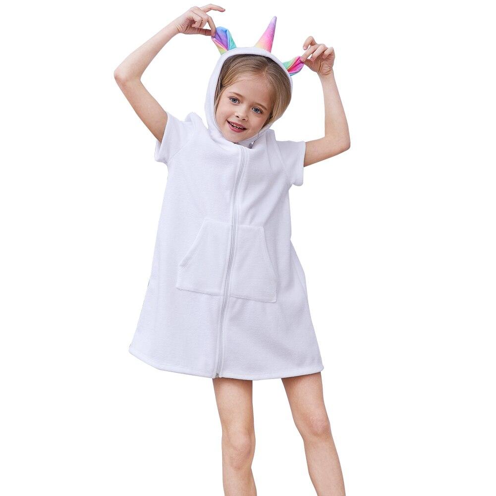 Fioday Towel Bath Robes For Girls White And Rainbow Print Zipper Hoodies Dress For Beachwear Kids Beach Cover-ups Drop Shipping