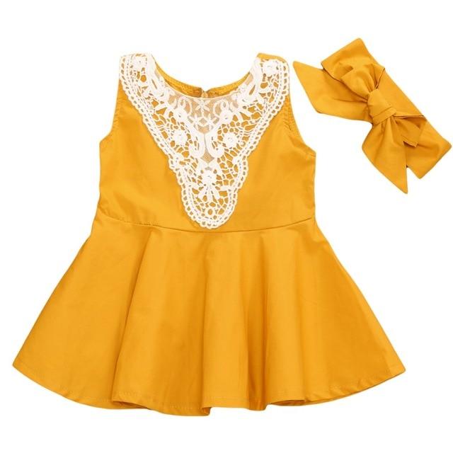 c5ff1df5df015 Enfant en bas âge enfants bébé filles robe dentelle jaune Mini robe sans  manches robes de