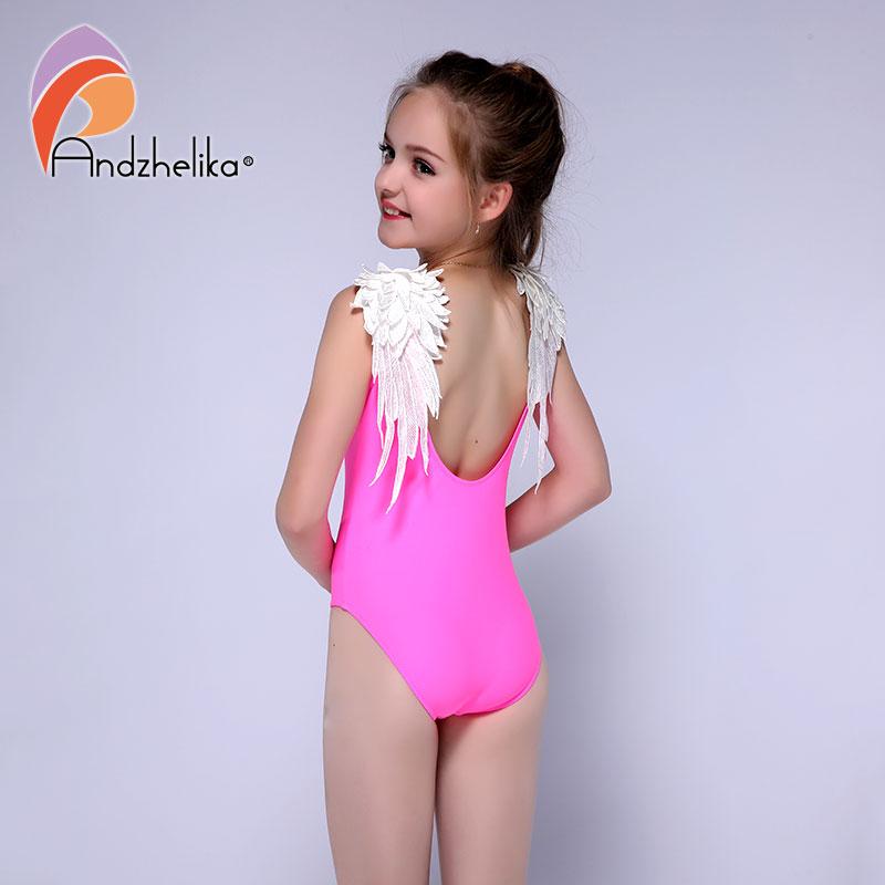 Andzhelika White Wings One Piece Swimsuit New Children's Swimwear 2021 Summer Girl Beach Bodysuit Bathing Suit Monokini