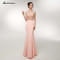 Высокая шея Розовые кристаллы вечернее платье с бисером спинки вечерние платье для выпускного вечера короткий рукав Бисер Кристалл длинно