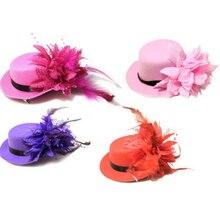 Evento de Danza Partido Fascinator de la sombrerería Sombreros Señora flor de la Pluma Mini Top sombrero Dots Red del Pelo Clip de Las Mujeres de la novia Gorra de gallina noche props