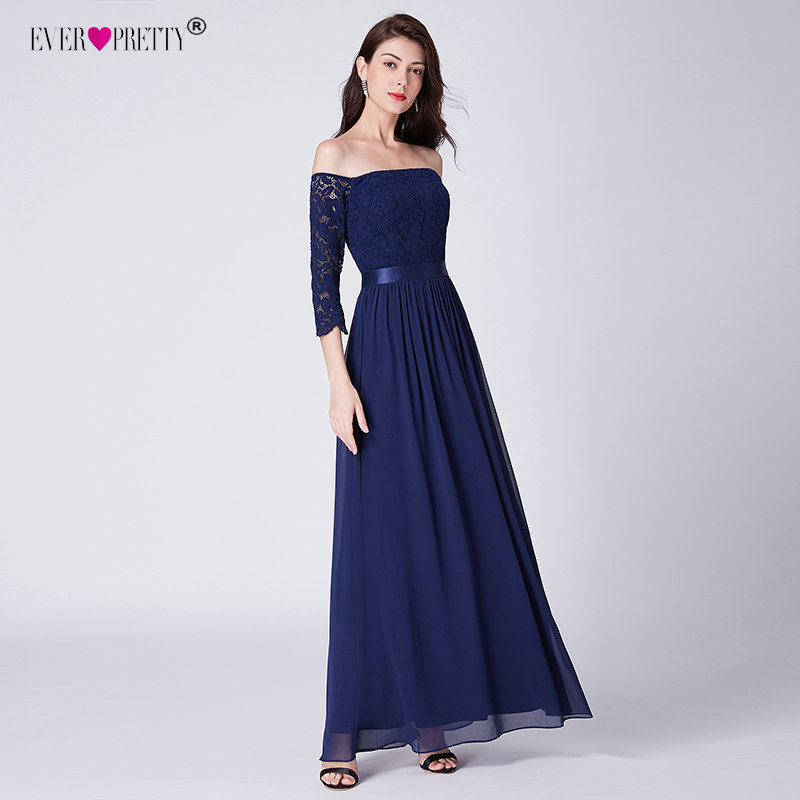 Navy Blue Evening Dresses Ever Pretty EP07478 Lace Autumn Winter Style  Women Wedding Party Dress Long Sleeve Evening Gowns-in Evening Dresses from  Weddings ... 89c6b2aa836c