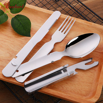Cheap 4 PCS Camping Set Outdoor in Hiking & Travel picnic BBQ Stainless steel Tableware set with Bottle Opener Free Shipping 1