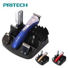 PRITECH 6 w 1 elektryczna maszynka do strzyżenia włosów dla mężczyzn profesjonalna maszynka do włosów akumulator trymer do brody maszynka do golenia