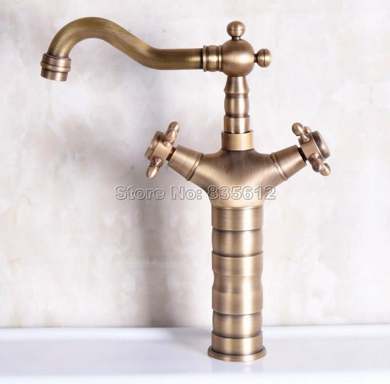 Antique Brass Swivel Spout Kitchen Sink Faucet Dual Cross Handles Basin Water tap Deck Mounted Wnf246