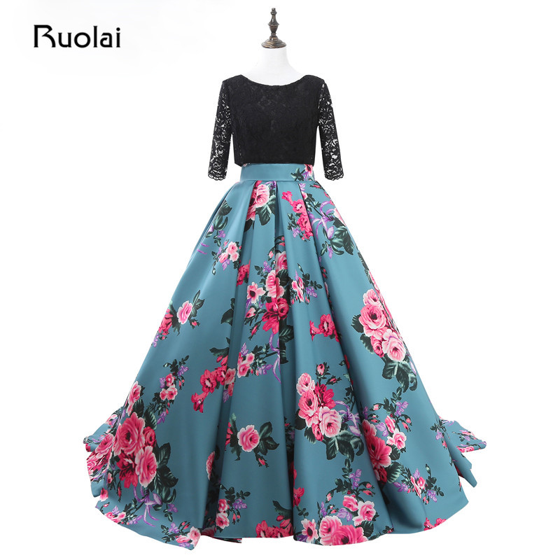 Mode réel Photo robes de soirée 2019 demi manches dentelle Top Floral motif robe de bal robes de bal longue imprimé robe de soirée PD90