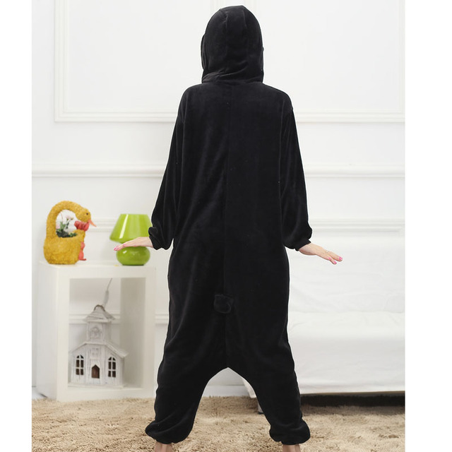 Women Adult Penguin Onesie Funny Animal Cartoon Pajamas Party Jumpsuit Winter Black Warm Sleepwear Fashion Cute Coveralls Suit