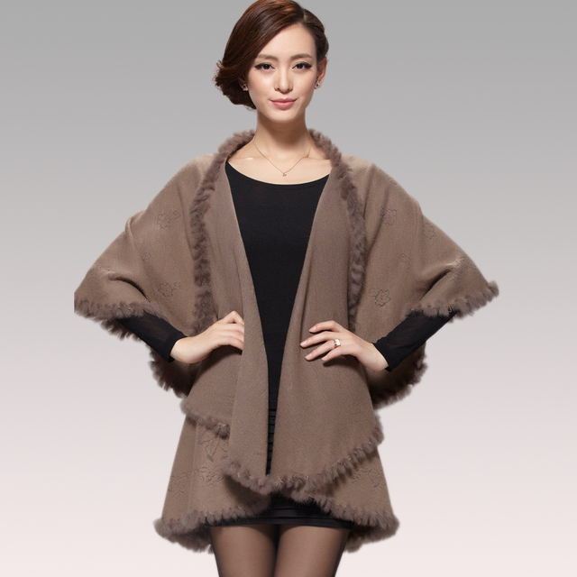 2015 Winter Autumn Women  Cardigan Fashion Rabbit Fur Collar Cashmere Cape Poncho  Female Knitted  Poncho Coat