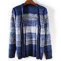 Kintting Patterns Mens Sweater 2016 New Autumn Winter Cardigan Homme Blue black Stripe Mens Cardigian Sweater mixcolor sudaderas