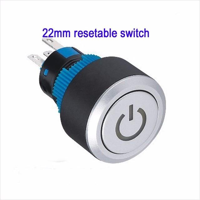 10 pieces 22mm 12V 24V 110V 230V White LED Plastic Power symbol push ...