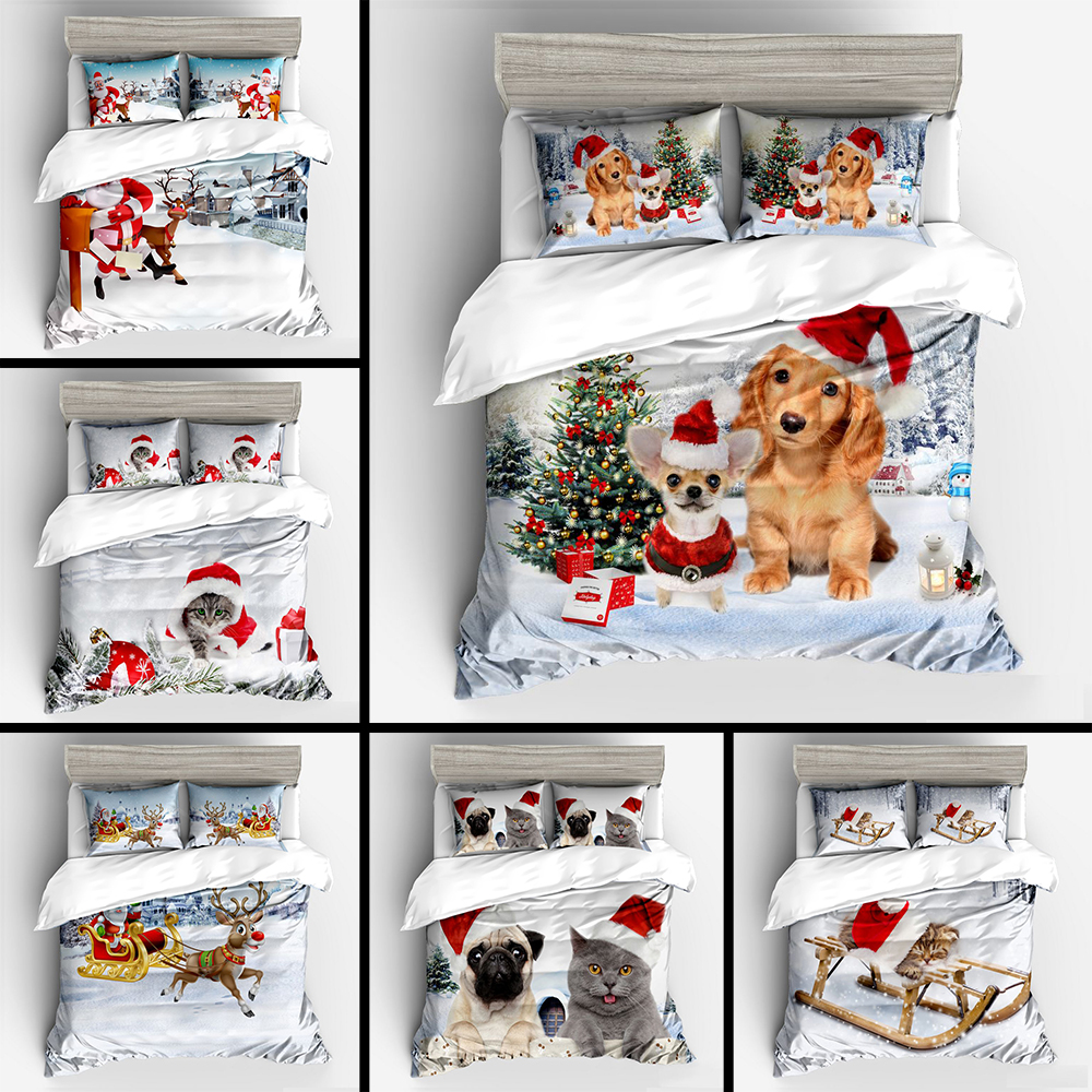 Merry Christmas Kid Bed Linens Set Cartoon Cute Pet Dogs Cats Bedclothes Children Christmas Gift Santa Clause Duvet Cover SetMerry Christmas Kid Bed Linens Set Cartoon Cute Pet Dogs Cats Bedclothes Children Christmas Gift Santa Clause Duvet Cover Set