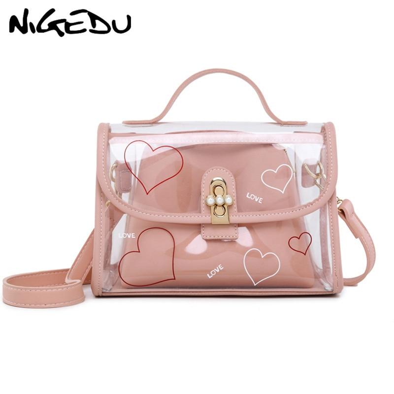 цена на NIGEDU Summer Transparent Beach Bag Heart Printed Women Handbags small Fashion female Shoulder Bag jelly Messenger Crossbody Bag