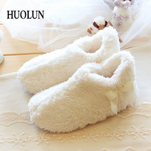 HUOLUN Indoor Home Women's Shoes In Winter Minimalist Ultra-soft Cotton Velvet Warm Home Cute Coral Velvet Shoes