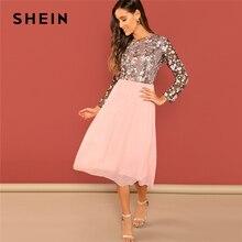 SHEIN Ausgehen Rosa Blume Bestickt Kontrast Mesh Mieder Rundhals Hohe Taille Kleid Frauen A Line Lange Elegante Kleider