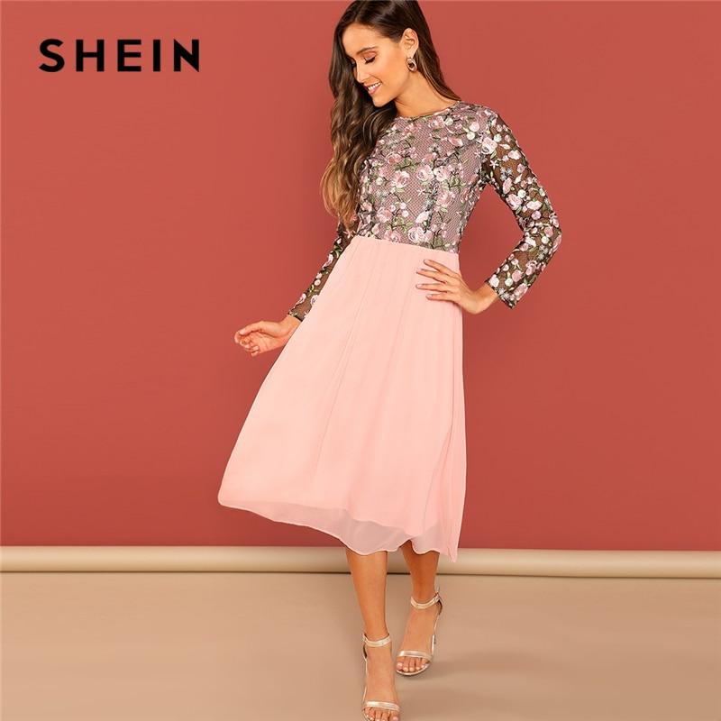 SHEIN a Rosa flor bordado de malla en contraste blusa cuello redondo vestido de cintura alta mujeres vestido elegante largo vestidos