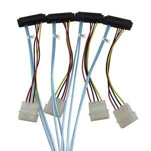 Image 4 - sas sata cables for HDD server Display card MINI SAS 4i SFF 8087 36Pin To 4 SAS 29Pin Sff 8482 +4pin power cable 1m