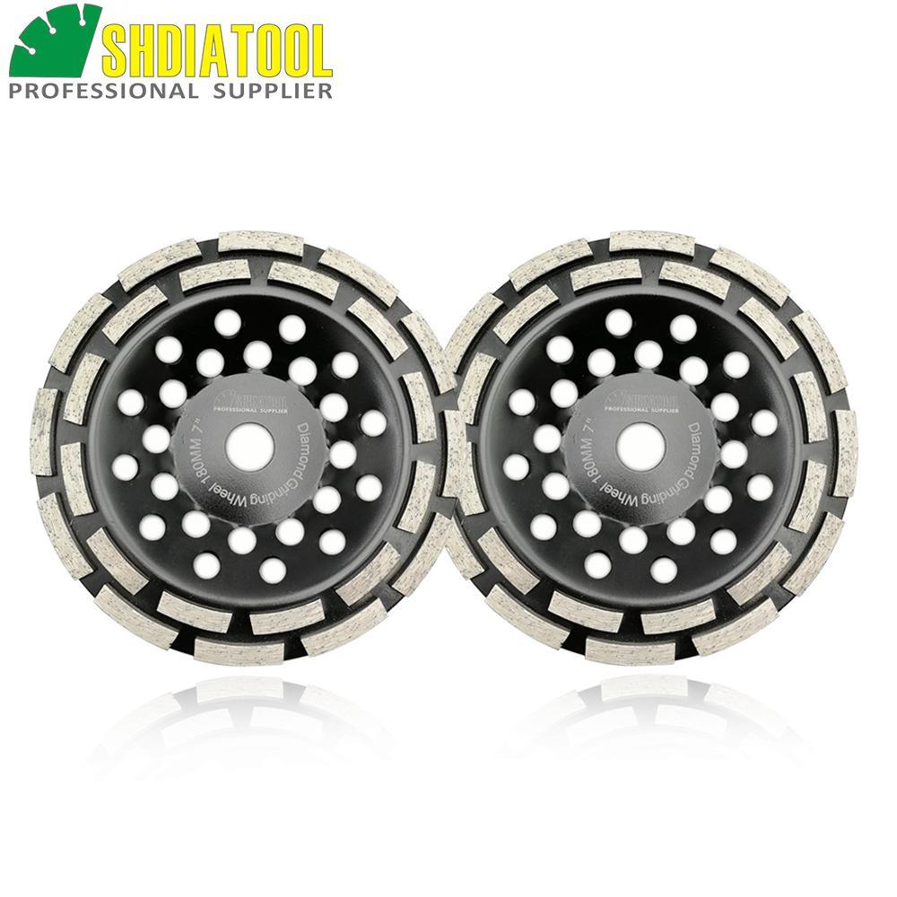 SHDIATOOL 7 180MM Diamond Double Row Grinding Cup Wheel Twin Row Grinding Disc For Grinding Polishing