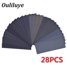 28PCS Wet/Dry Sand Paper 120 to 3000 Grit Waterproof Sandpaper Grind Sheets Polishing Granularity Wood Emery Abrasive Tool
