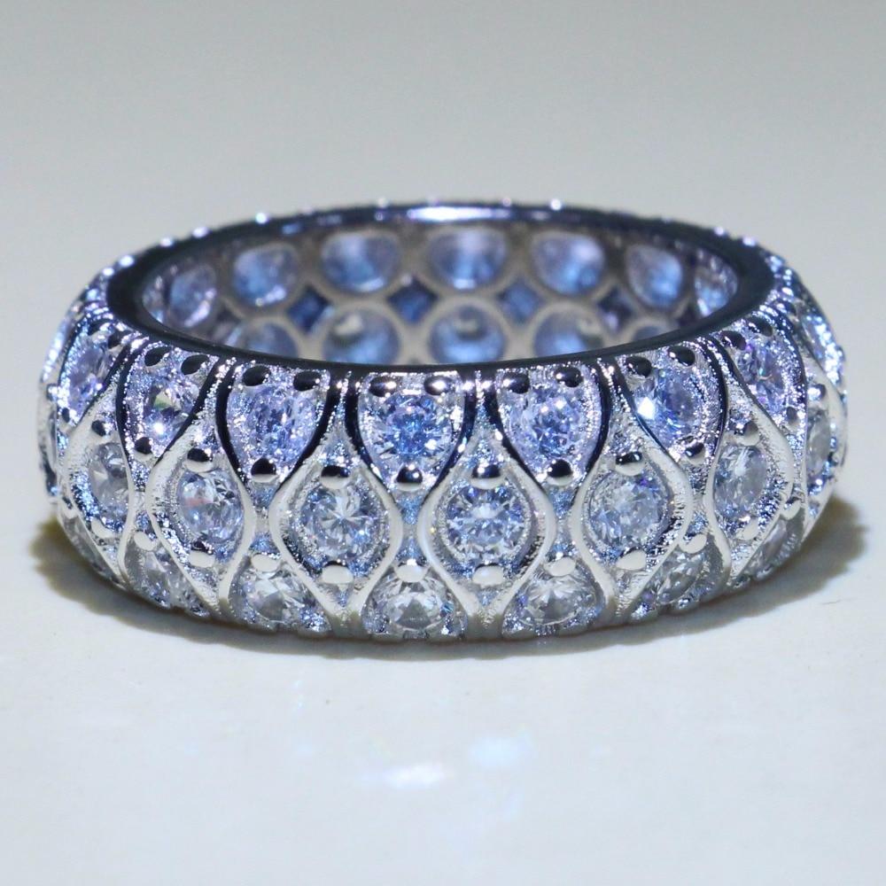 Винтажное модное ювелирное изделие, кольцо с рыбьими глазами из стерлингового серебра 925 пробы, высокое качество, Pave 5A, кубический цирконий, обручальное кольцо, набор колец|Кольца|   | АлиЭкспресс