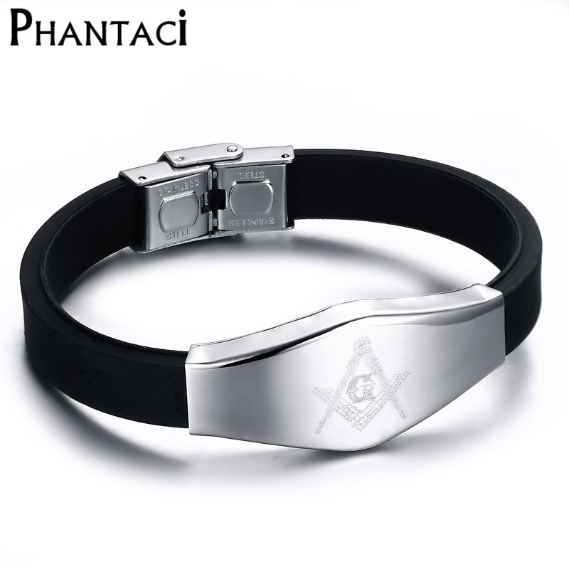 2018 Hot Masonic Stainless Steel Punk Bracelets&Bangles Stretch Silicone Charm Bracelets For Men Or Boy Fashion Jewelry
