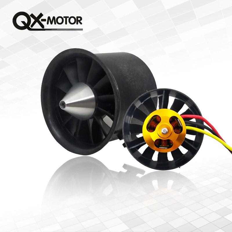 QX-Motor 70mm electrónicos acondicionado ventilador 12 cuchillas FED con 2827 KV2600 Motor sin escobillas y 80A esc para RC aviones no tripulados de piezas modelo
