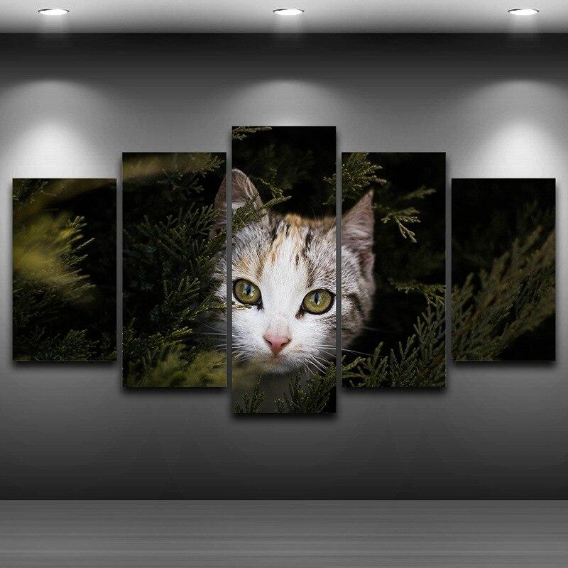 Gato Ojos artístico impreso dibujo pintura al óleo sobre lienzo ...