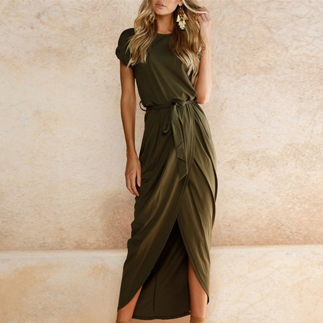 Casual Summer Plus Size Short Sleeve Irregular Maxi Dress