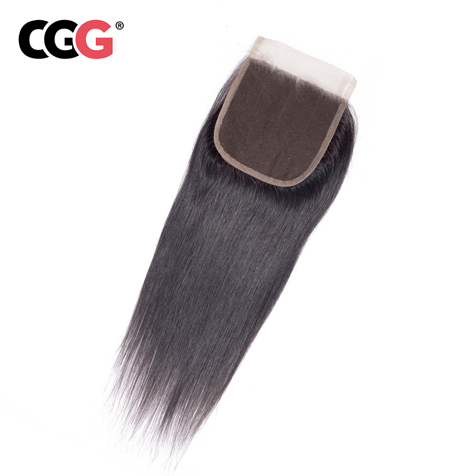 CGG Human-Hair Lace Closure 4X4 Straight 100%Non-Remy Swiss 8-20inch Free/middle/three-part