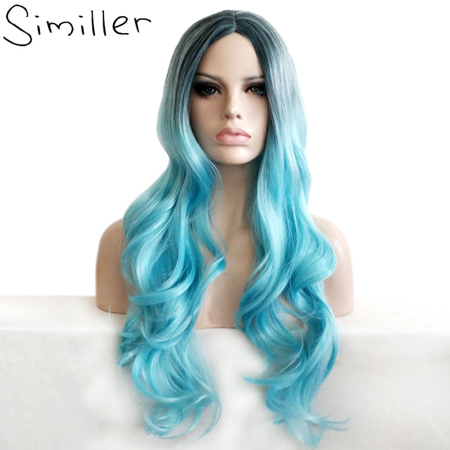 Similler Ombre Color Heat Resistant Synthetic Wavy Turquoise Blue Long  Cosplay Wigs For Party Afro Women 1e104ca9f4