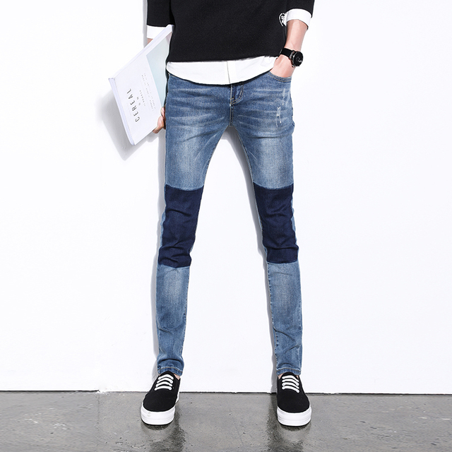 5cf64541f144a Men s clothing male plus size big size elastic waist jeans thickening Large  skinny trousers denim