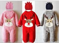 2018 Winter Christmas elk style Baby Romper cotton line fabric soft coral thick newborn overalls with antlers hat winter coat