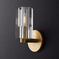 Lâmpada de parede de cristal todo o cobre simples padrão quarto lâmpada de cabeceira lâmpada de parede de ouro textura moderna corredor lâmpada de parede pequeno|Luminárias de parede| |  -
