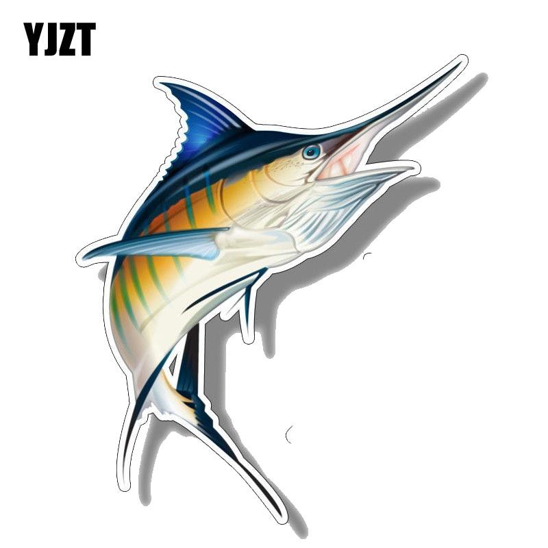 YJZT 14CM*16.6CM Funny Marlin Fish Saltwater Car Sticker Decal PVC 12-0646