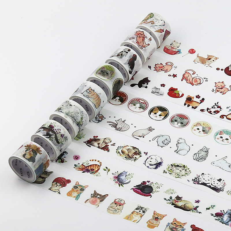16pcs/lot Cat Washi Tape Set Paper Decorative Kawaii Cute Masking Japanese Stationery Crafts and Scrapbooking School Supplies 12pcs lot vegetab fruit plant paper masking tape japanese washi tapes set 3cm 5m stickers kawaii school supplies papeleria 7161