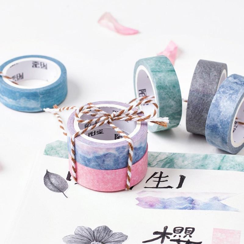 Nature Color Washi Tape Set Blue Sky Purple Star Pink Sakura Deco Paper Masking Tapes Stationery School Supplies