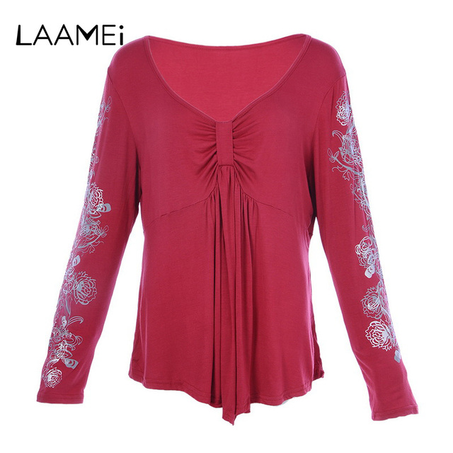 7a4ccffe747 Laamei Women T-shirts Fashion V-Neck Lace Floral Patchwork Long Sleeve Tee  Shirt