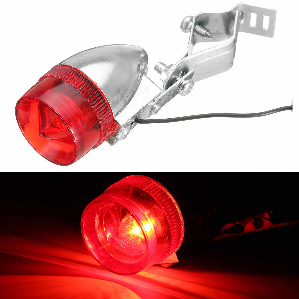 Classic Retro Bicycle Bike Rear LED Indicator Red Light Cable Holder Bracket ATV Car Taillight Lamp for MTB Road Bike