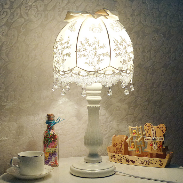 European style table lamp bedroom bedside lamp creative wedding fashion warm pastoral French fabric birthday gift lamps crystal lamp bedroom bedside lamp decoration lamp european creative wedding marriage room warm rose wedding gift table lamp