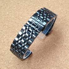 High quality Polished Watchband Stainless steel Black Silver Gold 22MM Bracelets strap butterfly clasp Fashion Watches