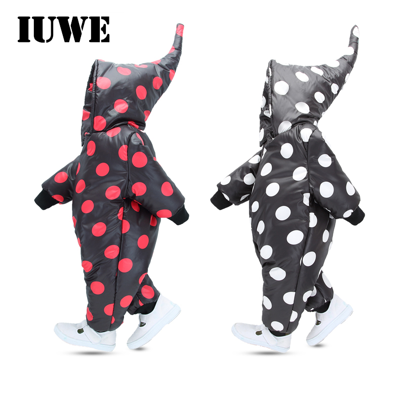 Winter jumpsuit for a boy Romper 2017 Waterproof Cute Hooded Polka Dot Long Zipper Newborn Infant Jumpsuit Toddler Baby Clothing puseky 2017 infant romper baby boys girls jumpsuit newborn bebe clothing hooded toddler baby clothes cute panda romper costumes