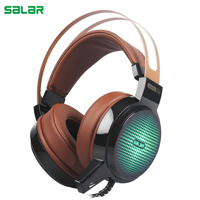 Salar C13 3.5mm USB Deep Bass Earphone Wired Gaming headset with microphone Computer Headphone with LED light for Computer pc цены