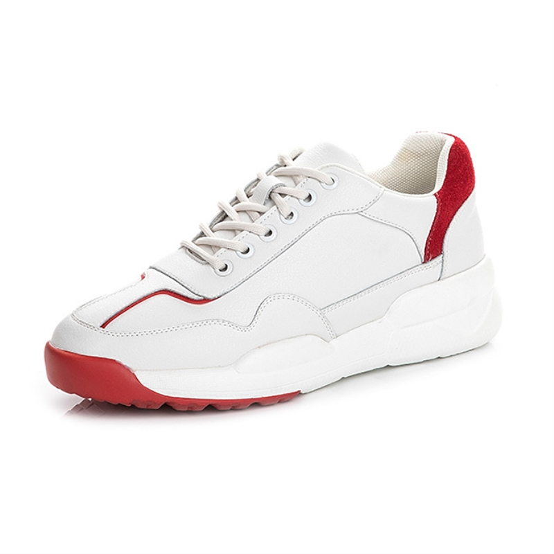 Genuine Leather Women White Shoes Casual Sneakers Summer Chunky Sneakers Lace up Waterproof Walking Shoes New