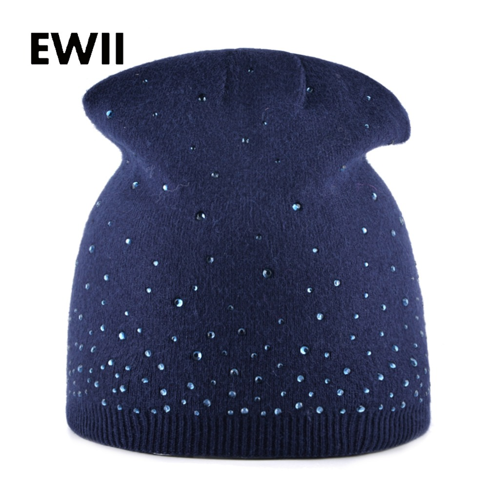 Autumn rabbit knitted hat ladies rhinestone winter hats for women beanies warm cap female skullies women casual caps gorro velvet thick keep warm winter hat for women rabbit fur knitted beanies ladies female fashion skullies elegant hats for women