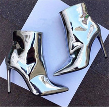 Fashion High Heels Autumn Dress Women Ankle Boots Street Style Silver Gold Metallic Patent Leather Size 34-44