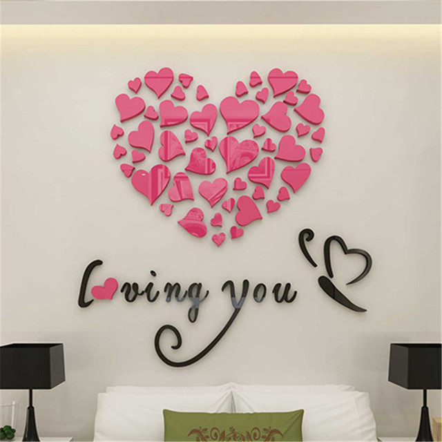 KXAAXS Love Heart DIY Removable Vinyl Decal Art Mural Wall Stickers ...