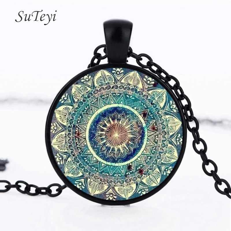 SUTEYI Vintage Glass Dome Necklace Buddhism Chakra Glass Cabochon Pendant Jewelry Om India Yoga Mandala Necklaces For Unisex