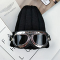 New glasses knitted hat Balaclava outdoor warm men's Ladies Harley mirror wool hat riding motorcycle couple hat bag post