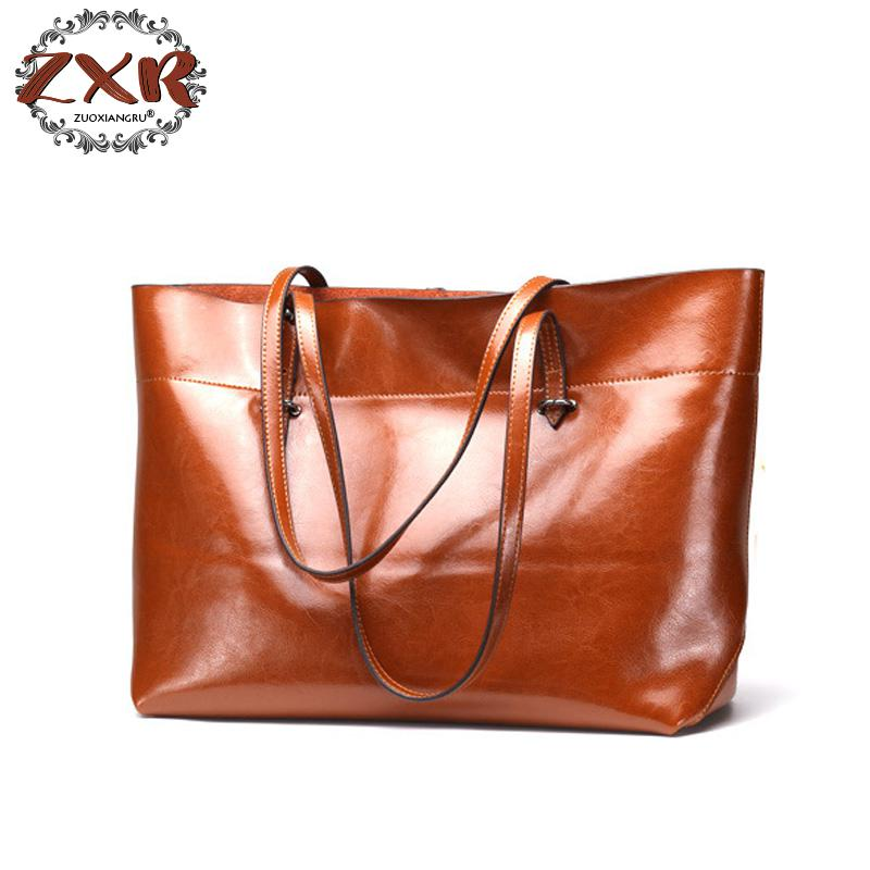 Casual Women Tote Bags Large Capacity Genuine Leather Handbags New Famous Designer Brand Ladies shoulder Shopping Bags