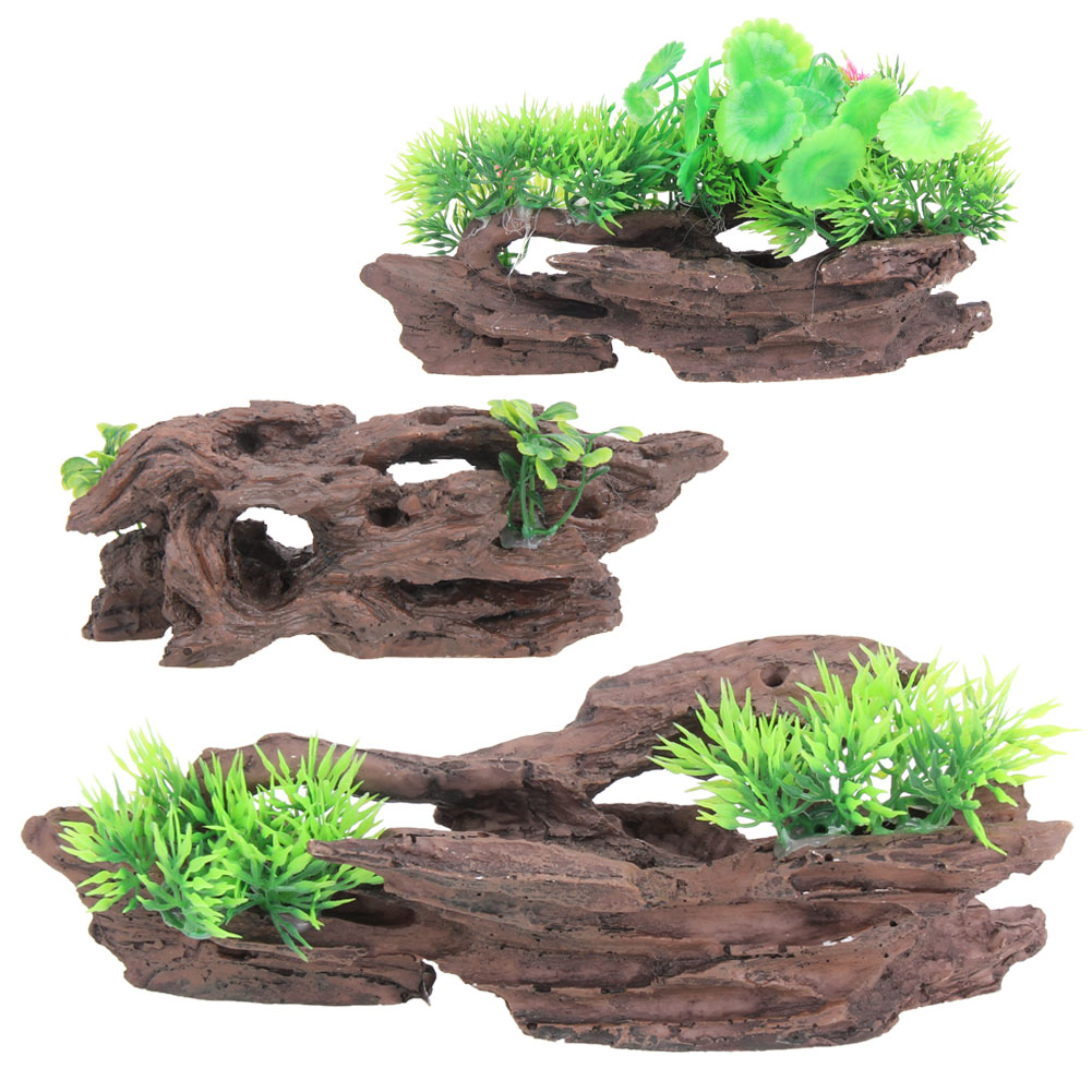 3 Style Resin Aquarium Tree Trunk Decoration Artificial Driftwood Resin Fish Tank PTSP